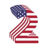USA chorągwiany 3d liczba 2 łaciński abecadło Textured chrzcielnica Fotografia Stock