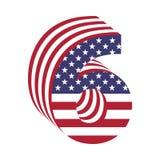 USA chorągwiany 3d liczba 6 łaciński abecadło Textured chrzcielnica Zdjęcie Stock