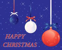 USA christmas greeting card with red white and blue baubles on a starry background Royalty Free Stock Photo
