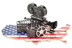 USA cinematography, film industry concept. 3D rendering. Isolated on white background Stock Photography