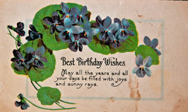 USA - CIRCA 1900 Vintage Birthday Card. CIRCA 1900 - This aged vintage greeting card with has a birthday message on worn, aged and dirty paper. Nostalgic stock images