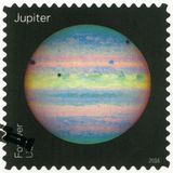 USA - CIRCA 2016: shows The Jupiter, series Views of Our Planets. UNITED STATES OF AMERICA - CIRCA 2016: A stamp printed in USA shows The Jupiter, series Views Royalty Free Stock Photos