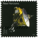 USA - CIRCA 2016: shows The New Horizons, series Pluto-Explored. UNITED STATES OF AMERICA - CIRCA 2016: A stamp printed in USA shows The New Horizons, series royalty free stock images