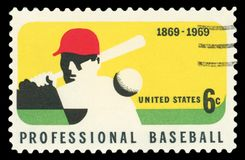 US Postage stamp. USA - CIRCA 1969 : A stamp printed in the USA shows Professional Baseball, 1869-1969, circa 1969 stock photography