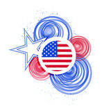 Usa circles paint flag illustration design. Over white vector illustration