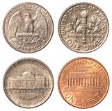 USA circulating coins. United States dollar circulating coins isolated on white background Royalty Free Stock Images