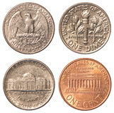 USA circulating coins. United States dollar circulating coins isolated on white background Stock Images