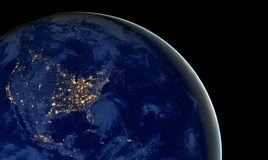 United States of America lights during night as it looks like from space. Elements of this image are furnished by NASA. USA cities lights during night as it Stock Photography