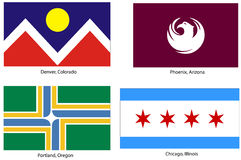 USA city flags set. Illustration of the official municipal flags of the following US cites (with official colors and sizes): Denver (Colorado), Phoenix (Arizona Royalty Free Stock Images