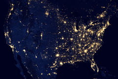 USA city lights visible geography Stock Images