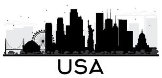 USA City skyline black and white silhouette. Royalty Free Stock Photo