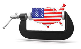 USA in clamp (clipping path included) Stock Images