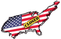 USA closed. To reflect in a visual iconic way that America is in shutdown Royalty Free Stock Photos