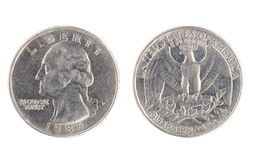 USA coin, the nominal value of Quarter dollar Royalty Free Stock Images
