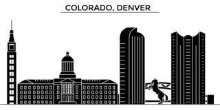 USA Colorado, horisont för staden för den Denver arkitekturvektorn, loppcityscape med gränsmärken, byggnader, isolerade på sikt vektor illustrationer