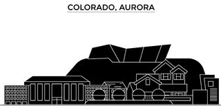 USA Colorado, horisont för staden för morgonrodnadarkitekturvektorn, loppcityscape med gränsmärken, byggnader, isolerade på sikt royaltyfri illustrationer