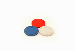USA Colored Casino Poker Chips Triangle. Usa colored casino poker chips in a triangle Royalty Free Stock Images