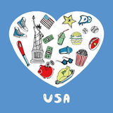 USA Colored Doodles Vector Collection Stock Photos