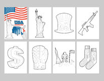 USA coloring book. Patriotic Illustrations in linear style. Of painting. Statue of Liberty and Uncle Sam hat. first astronaut on moon. Socks with national flag Royalty Free Stock Photography