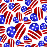 Usa colors hearth shape celebration seamless pattern eps10 Stock Photos