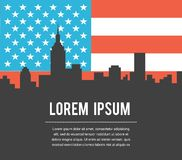 USA Colour Flag New York City Vector Skyline Royalty Free Stock Photo
