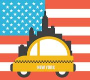 USA Colour Flag New York City Vector Skyline Stock Photos