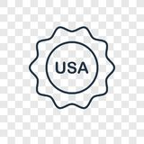 Usa concept vector linear icon isolated on transparent backgroun stock illustration