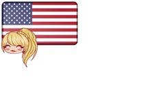 USA concept. White background. Illustration of the United States. USA concept. Cartoon. Blonde girl. White background Stock Photo