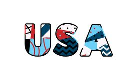 USA Concept Word Art Illustration. The letters USA concept written in colorful abstract typography. Vector EPS 10 available Stock Photo