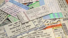 USA Concert Ticket Showcase. A collection of concert tickets featuring an original Grateful Dead ticket from Jerry Garcia's last show stock video