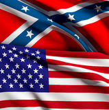 Usa and confederate flag Stock Image