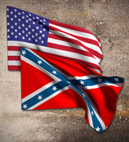 Usa and confederate flag Royalty Free Stock Image