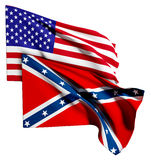 Usa and confederate flag Royalty Free Stock Photo