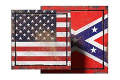 Usa and confederated flags. 3d rendering of an united states and confederate flags on rusty plate Royalty Free Stock Photo