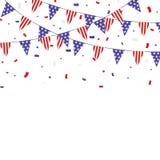 USA confetti i chorągiewek o temacie patriotyczny sztandar ilustracji