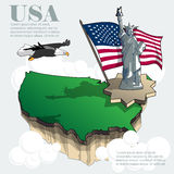 Usa country infographic map in 3d stock illustration