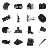 USA country set icons in black style. Big collection of USA country vector symbol stock illustration Stock Image