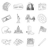 USA country set icons in outline style. Big collection of USA country vector symbol Royalty Free Stock Images