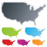 USA county halftone design element. Vector illustration of differently colored design elements in the shape of the USA continent in the halftone technique Stock Photos