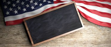 United States flag placed on wooden background. Blackboard in frame with copyspace. 3d illustration. USA crumpled flag placed on wooden background. Blackboard in Royalty Free Stock Images