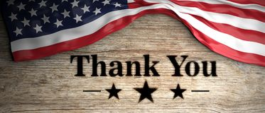United States flag with thank you patriotic message placed on wooden background. 3d illustration Stock Image