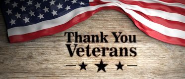 United States flag with thank you veterans message. Wooden background. 3d illustration Stock Images