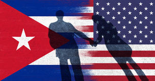 USA and Cuba flag with couple holding hands stock illustration