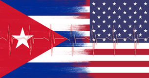 USA and Cuba flag with heart pulse pattern Royalty Free Stock Photo
