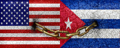 Usa and Cuba Flag United. Usa and Cuba flags united by chains raster illustration concept in vivid saturated colors and grunge style Royalty Free Stock Image