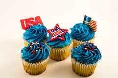 USA Cupcakes American flag. Rich beautiful colors  back ground American holiday usa  red white and blue Stock Image