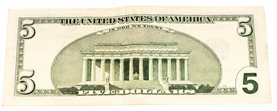 USA currancy banknote. Lincoln memorial on a 5 US dollars banknote made in 2003 royalty free stock image