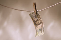 USA currency on clothesline Royalty Free Stock Images
