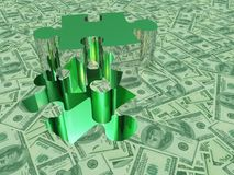 USA Currency Puzzle. USA Currency. Piece of Puzzle stock illustration
