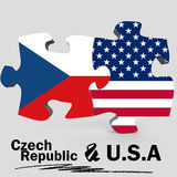 USA and Czech Republic flags in puzzle Royalty Free Stock Image